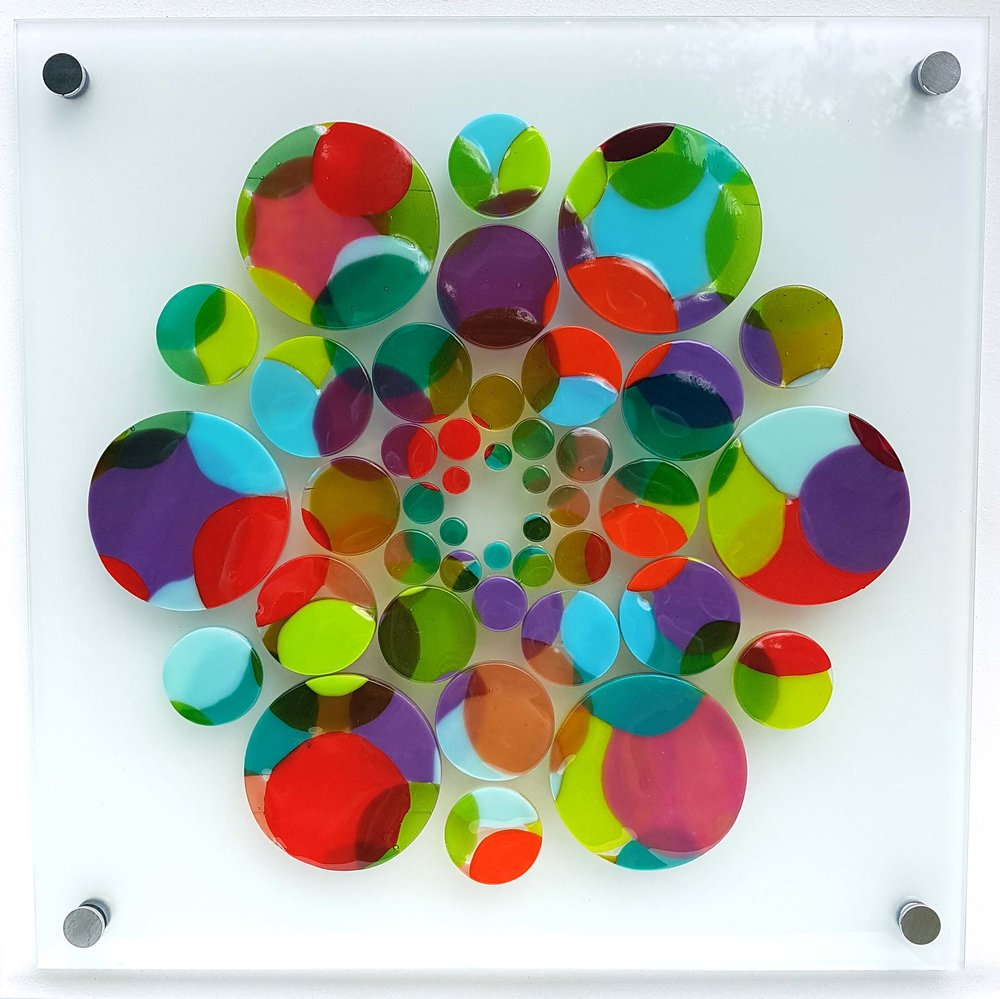 Manifestation, fused Bullseye glass bonded onto 5 mm toughened float glass, 350 mm x 350 mm.jpg