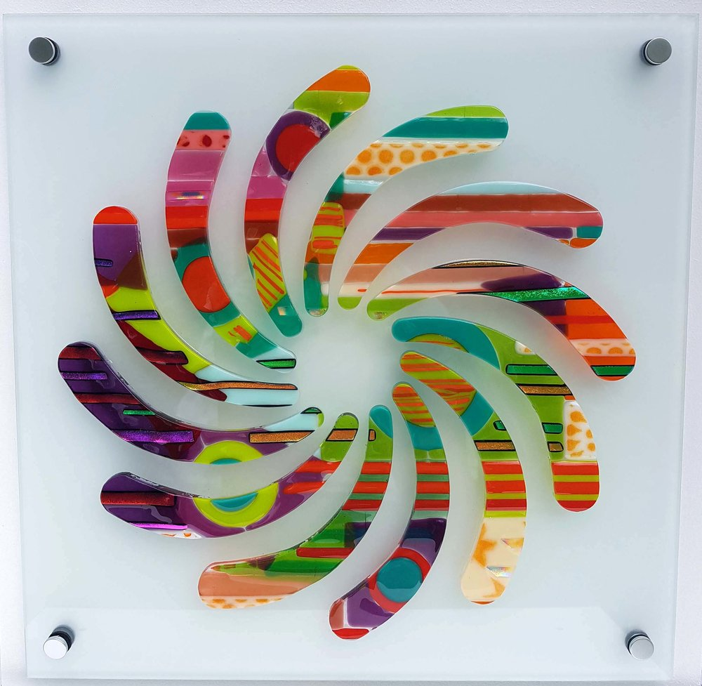 Matching Vibrations, fused Bullseye glass bonded onto 5 mm toughened float glass, 470 mm x 470 mm.jpg