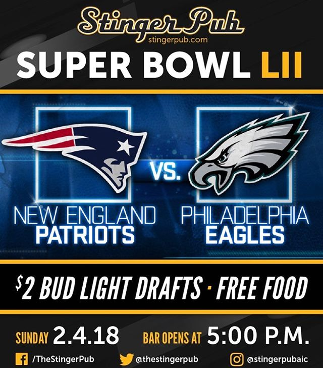 Super Bowl party people. What's up? Free food. $2 Bud Light Drafts. Two NEW drafts. What else do you want? #superbowl #patsnation #eaglesnation (i guess) #food #budlight