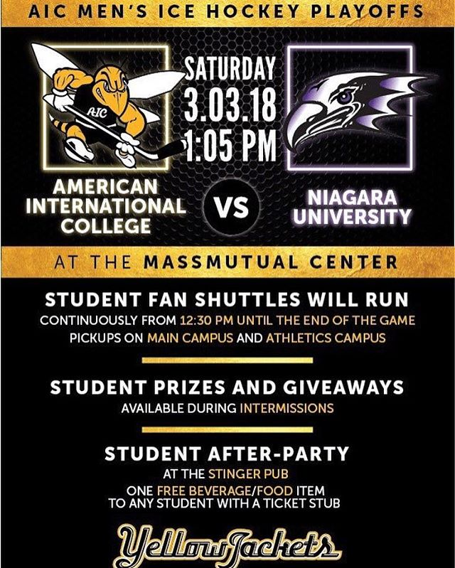 Congrats to @aic_hockey on their playoff win last night! Let's clinch the next round with a win tonight. After party in the Stinger tonight to celebrate!