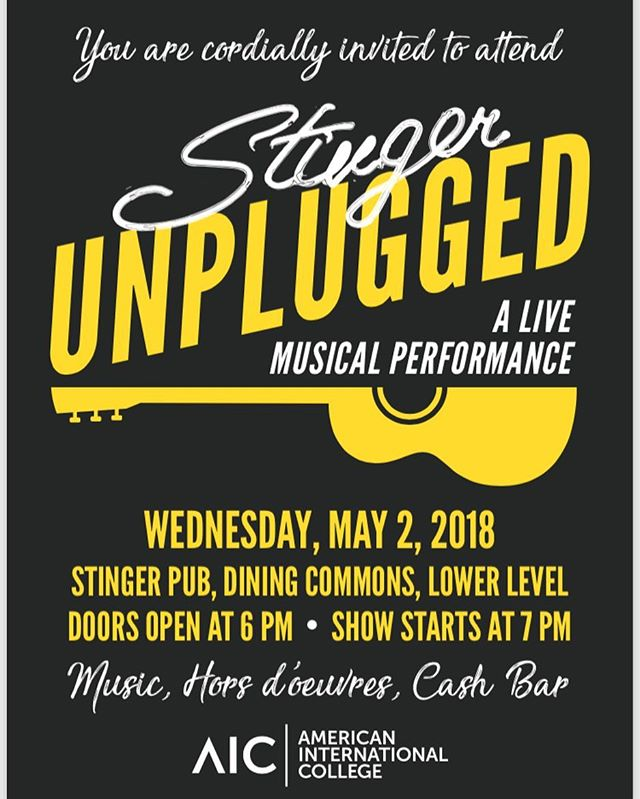 All the details are in the pic. Make it down and enjoy a live musical performance from some of the members here at AIC #unplugged