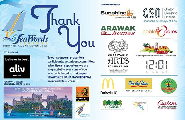 To our sponsors, presenters, participants, volunteers, committee, advertisers, supporters we are so grateful to every one of you who contributed to making our SEAWORDS BAHAMAS Festival an incredible success!!! #seawordsbahamas  #thankyou #bahamas #festival #literary @iamaliv @atlantisbahamas #writer #author #conference #thanks #appreciation #appreciate