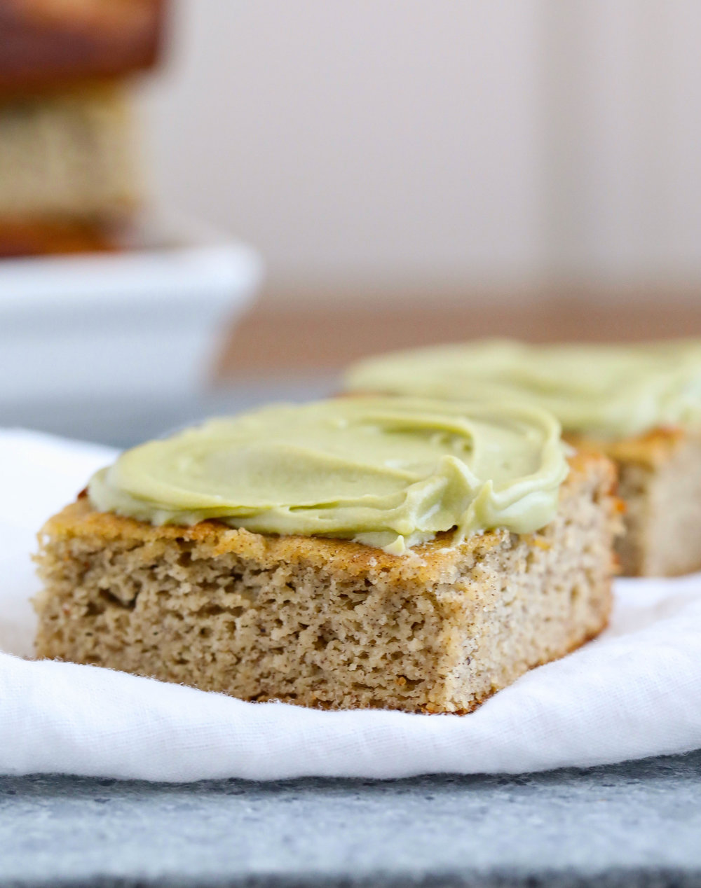 Banana Bread Squares with Honey Matcha Frosting