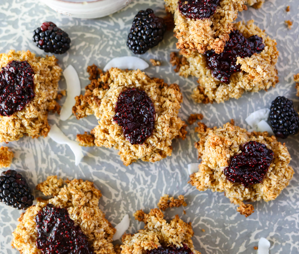Blackberry Chia Jam Coconut Cookies