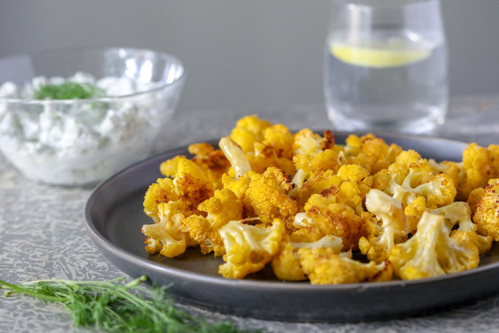 Cumin Cauliflower with Dairy Free Tzatziki