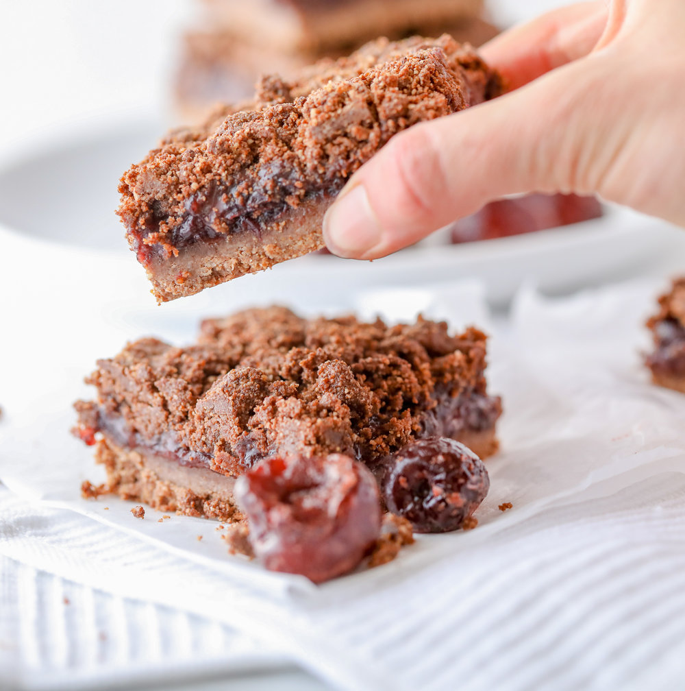 Healthy Cherry-Chocolate Crumble Bars (Grain-free, Dairy-free)
