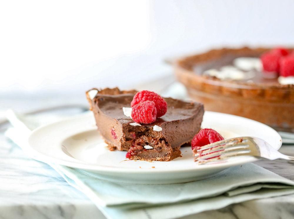 Healthy Chocolate Raspberry Pie (Grain-free, Dairy-free, Paleo)