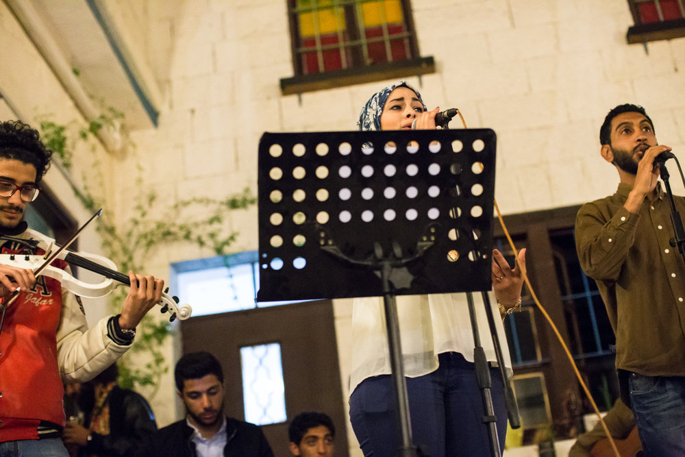 A local band performs traditional Arabic songs at Jadal cultural center in downtown Amman, Jordan on April 16, 2015.