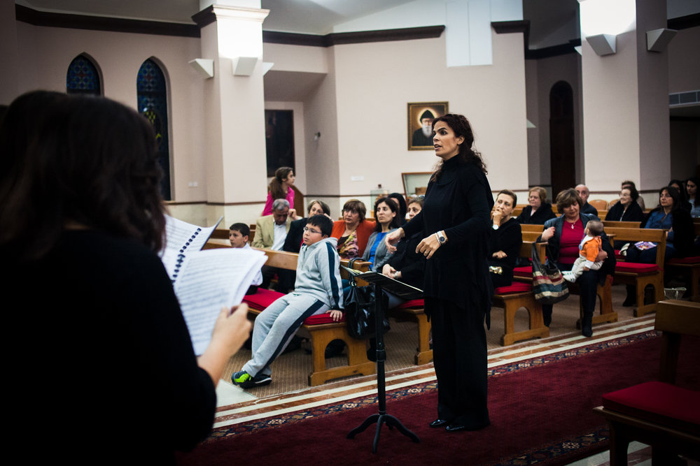 The Dozan wa Awtar choir perform at the St. Charbel Maronite Church in Amman, Jordan on April 19, 2011.