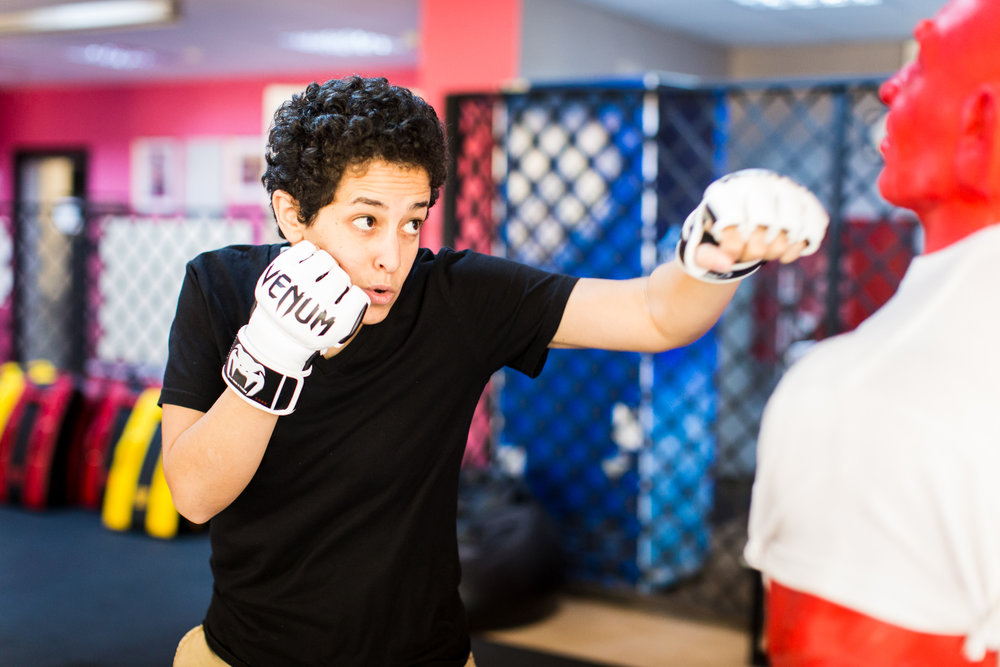 Lina Khalifeh, founder of She Fighter, trains young women in self defense techniques to protect against sexual harrassment. Lina opened her studio three years ago in Amman, Jordan, for women to have a safe, fun, women-only environment to learn self defense and stay physically fit.