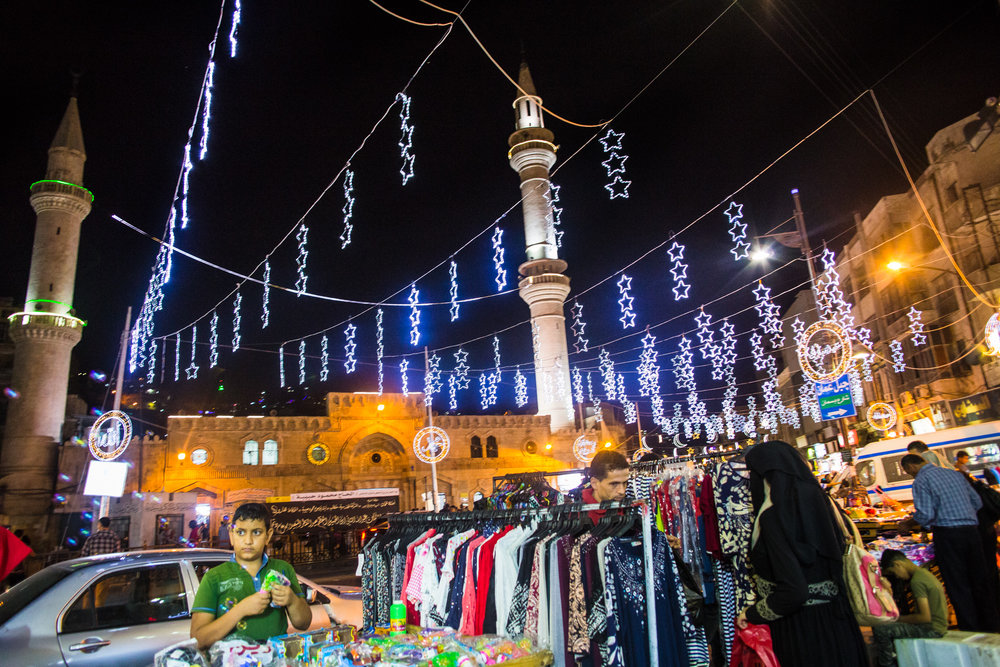 Downtown Amman, decked out with festive lights for Ramadan, 2016.