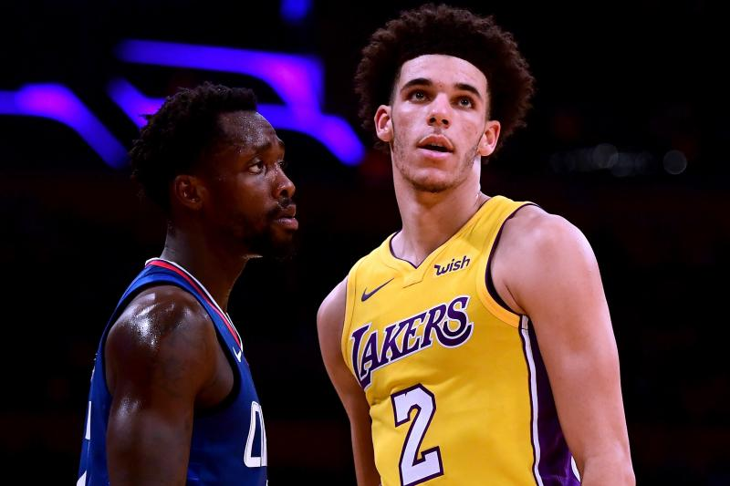Patrick Beverly (left) didn't let up for even a second against the  Laker  rookie. (via Bleacher Report)