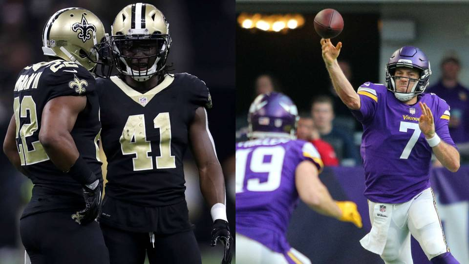 Saints backfield vs the Vikings' efficient offense. (via sportingnews.com)