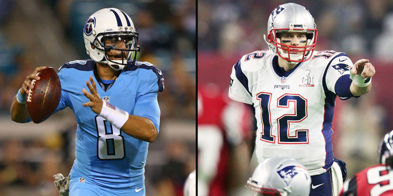 Mariota will have his hands full in this playoff round against Tom Brady. (via cutthecord.com)