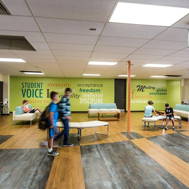 Phoenix Middle School lobby. #educationdesign #interiordesign #worthingtonschools