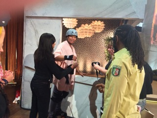 Queen Latifah getting ready backstage
