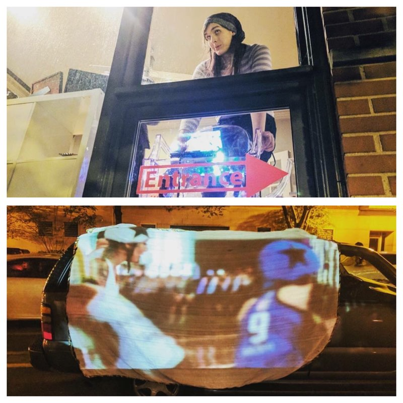 Craze projecting video at our art show this past fall. Photo credit: Buenas Tardis