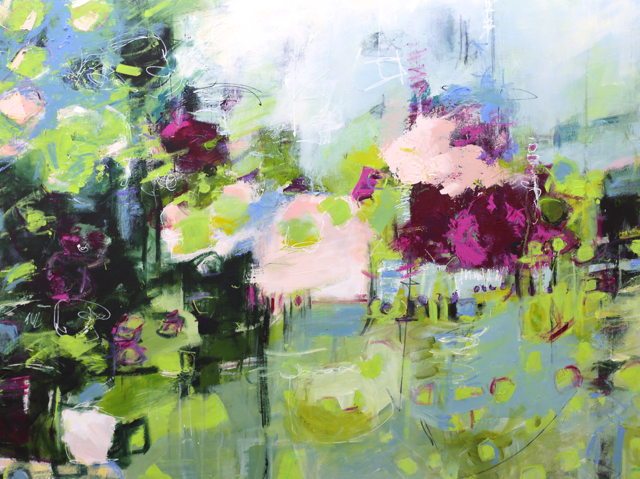 'Lily' Acrylic on 36 x 36 x 1.5 inch