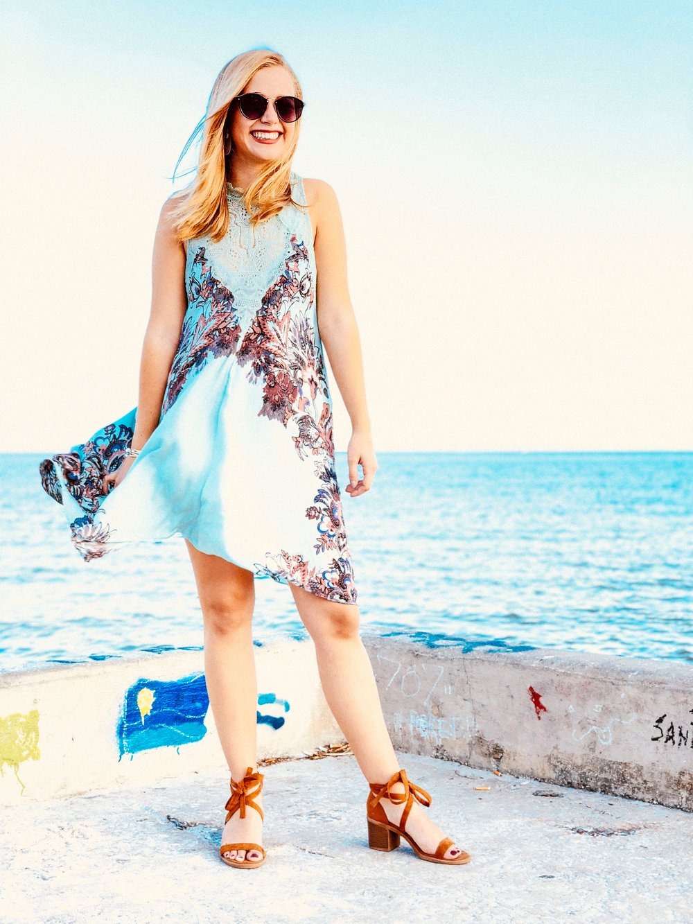3bd095a85435 I paired the Free People shift dress with my Target lace up low block heels  for a casual daytime look. My Nordstrom sunnies (linked similar) were a ...