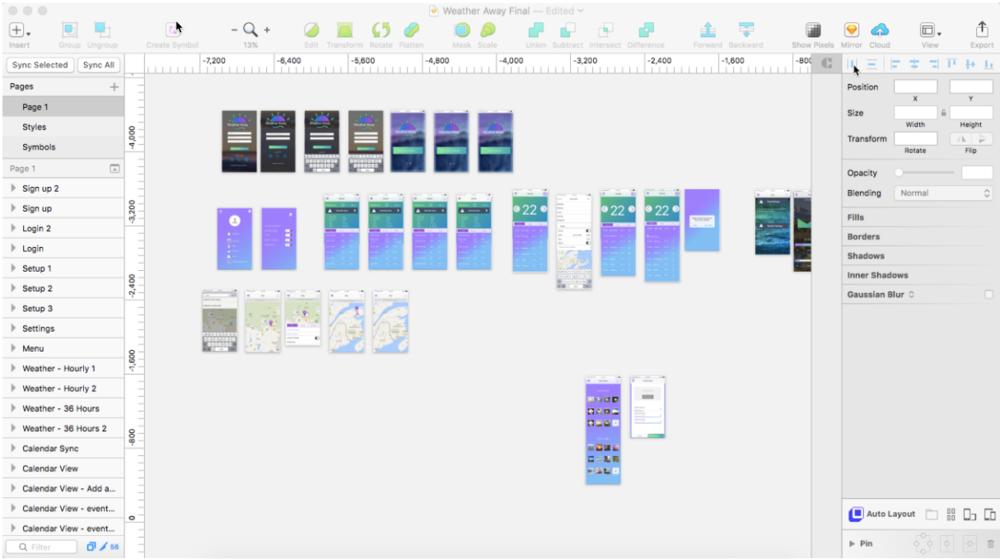 Screenshot of final designs in Sketch