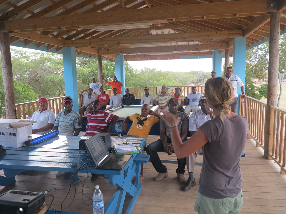 Marine Spatial Planning fishing meetings were held in Treasure Beach, Jamaica to collect, validate and empower fishers to participate in marine governance and management.
