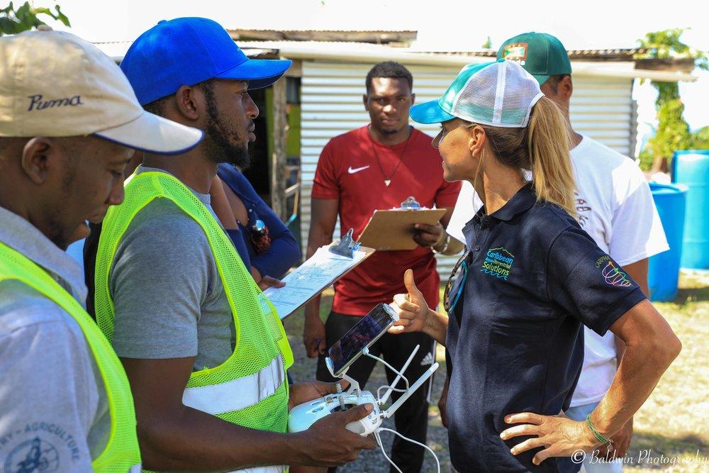 Grenada UAS Drone Team mapping coastal marine habitat in the MBMPA Grenada.. December 2018.