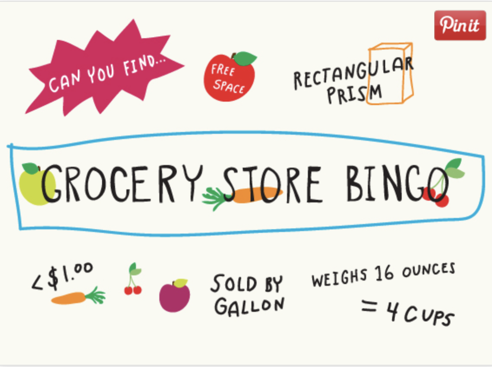 Making learning intentional outside the classroom! Next time you and your student are at the grocery store give Grocery Store Bingo a try!  It is a great way to reinforce math skills and show your students how mathematics applies to everyday life!  Click the picture above for everything you will need! BINGO!