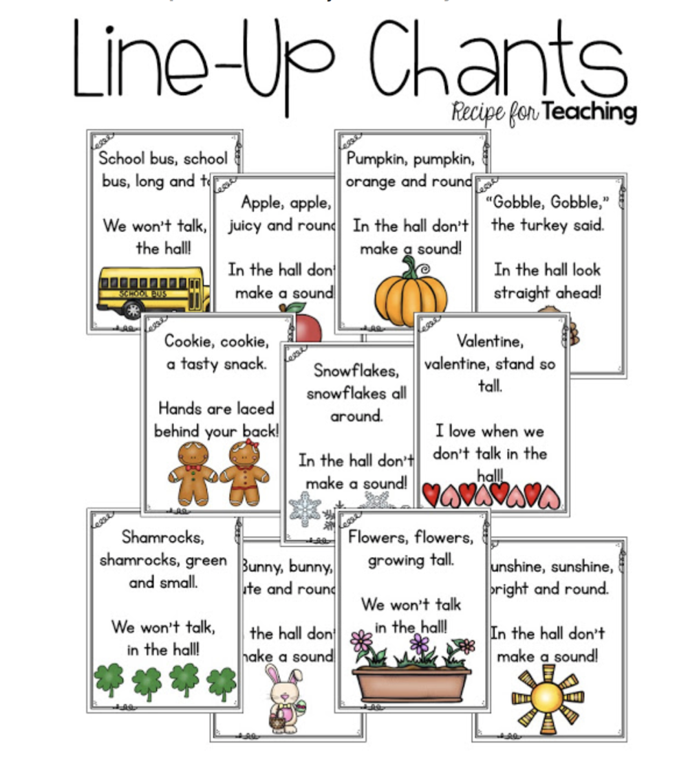 Line Up Chant ideas for hallway transition -