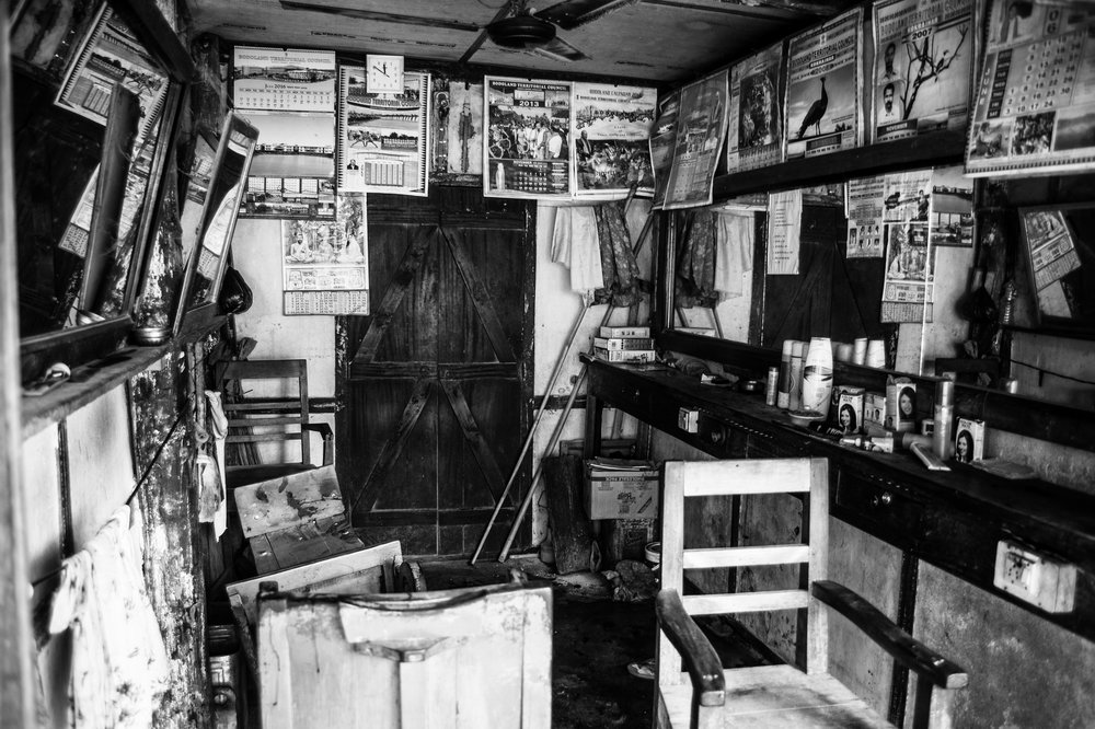 The Dwimsu Salon at the Balajan Tiniali market where brothers Nibaran and Soren Mosahary were shot dead along with their two clients.