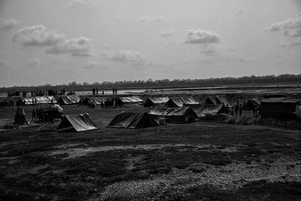 Villagers from N.K. Khagrabari and Narayanguri camped in hastily pitched tents.
