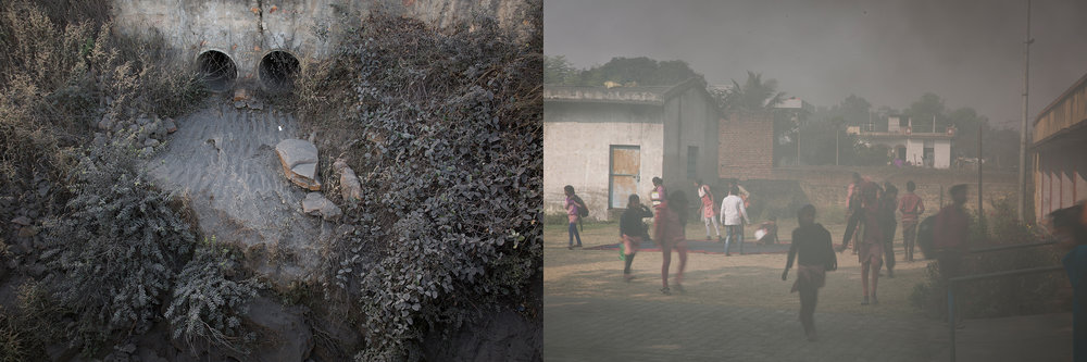 LEFT: ASH, NEAR JAYANT MINES  RIGHT: GOVERNMENT SCHOOL, ANPARA