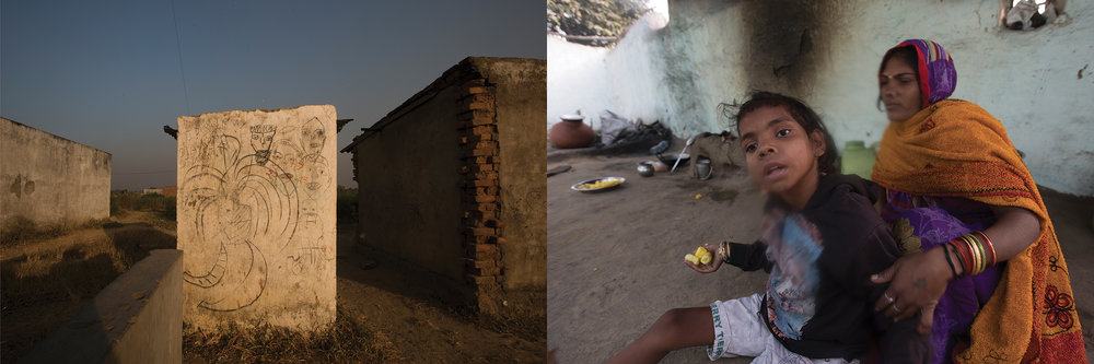 LEFT: A MURAL, AMROLI RELIANCE REHABILITATION COLONY  RIGHT: MENTALLY-RETARDED DAUGHTER,...., OF A MINE           LABOURER,CHILKADAND