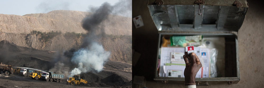 LEFT: JAYANT OPEN CAST MINES  RIGHT: PHOTO OF RAJU WHO DIED OF A 'STOMACH AILMENT',     GARIYA