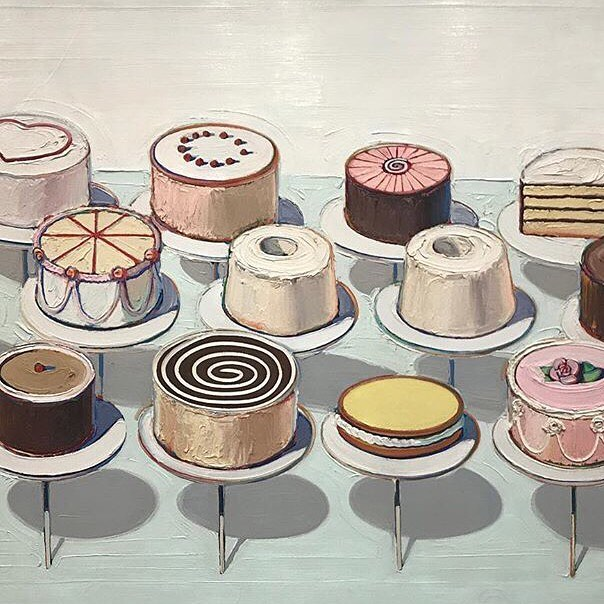 Display Cakes by Wayne Thiebaud, 1963. Because pastries are art, too. #regram @arthistoryfeed #lapopdc #culturalsalon #waynethiebaud #popart #arthistory