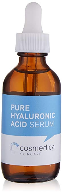 Cosmedica  Hyaluronic Acid Serum  Hyaluronic Acid Serum for Skin - Super hydrating, I use this under my moisturizer every day for glowy skin. I don't wear foundation. So, moisturized skin is key for a quick morning routine.