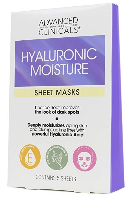 Advanced Clinicals   Hyaluronic Acid Sheet Mask  ,    This mask is a game changer! One of my educators in NYC turned me onto it and we now mask bi-coastally. Brighter, dewy skin even after traveling or super helfpul for a lack of sleep.