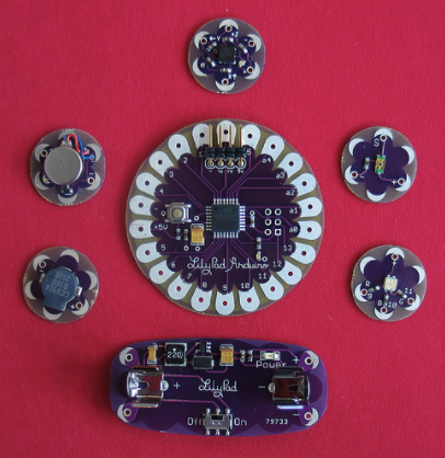 LilyPad Arduino system image by Leah Buechley (via Flickr)