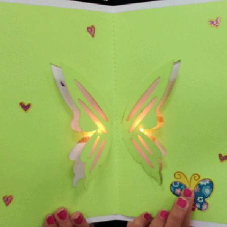 LED Butterfly card - Craft an illuminated butterfly pop up card with copper tape, two LEDs, and a battery.