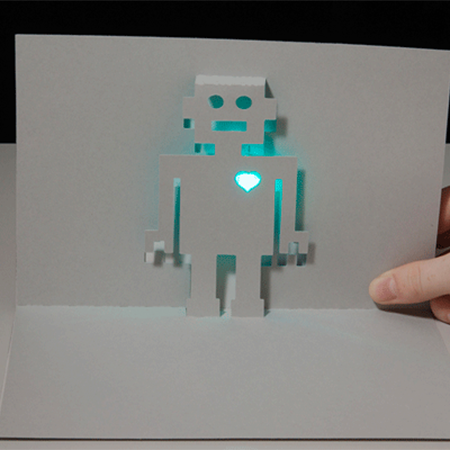 LED Robot Card - Craft a paper circuit pop up card with a cycling RGB LED, battery, and copper tape.