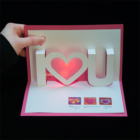 Light-Up Valentine Cards - Light up your love with paper circuits - no soldering required!