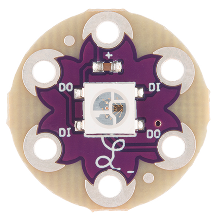LilyPad Pixel Board Hookup Guide - Add changing colors to your projects using LilyPad Pixels.