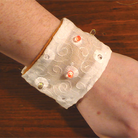 Soft Circuit LED Bracelet - Learn to sew with conductive thread to make a cool LED cuff to wear out and about.