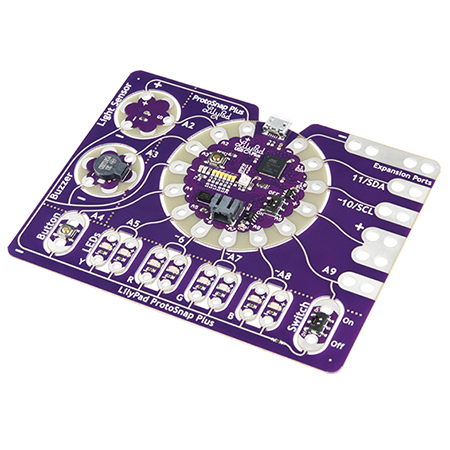 LilyPad ProtoSnap Plus Hookup Guide - Learn about the LilyPad ProtoSnap Plus - a sewable electronics prototyping board.