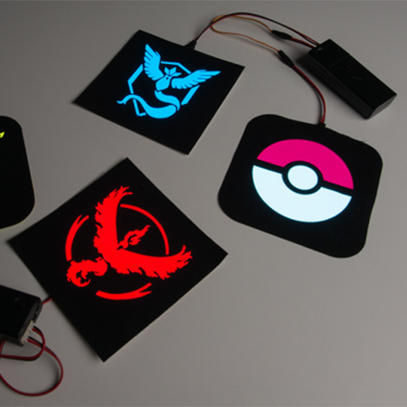 Pokémon Go patches with EL Panels - Add a cloth stencil over EL panels to create glowing logos and designs.