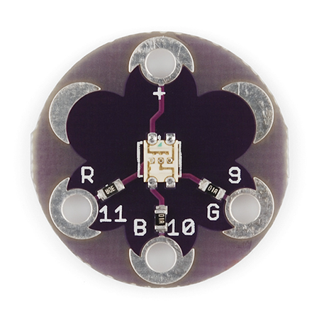 LilyPad Tri-Color LED Hookup Guide - Learn how to hook up the LilyPad Tri-Color LED and use a common cathode RGB LED in e-textile projects.