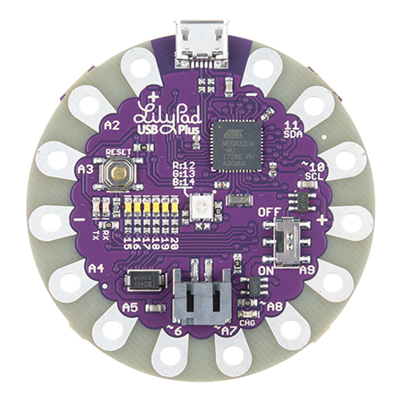 Lilypad USB Plus HOOKUP Guide - The LilyPad USB Plus is a sewable microcontroller that you can use with Arduino.