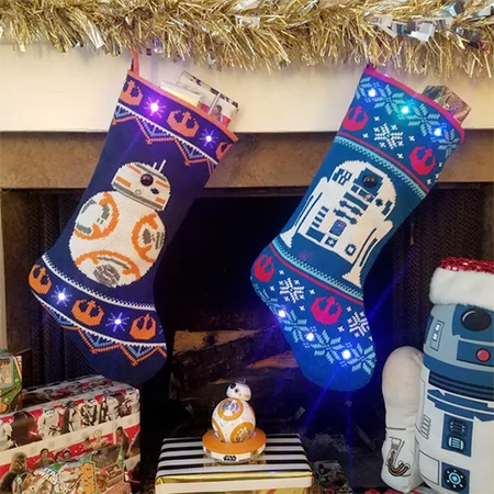gesture controlled star wars stocking - Create an interactive Christmas stocking that lights up and plays sound effects in response to gestures.