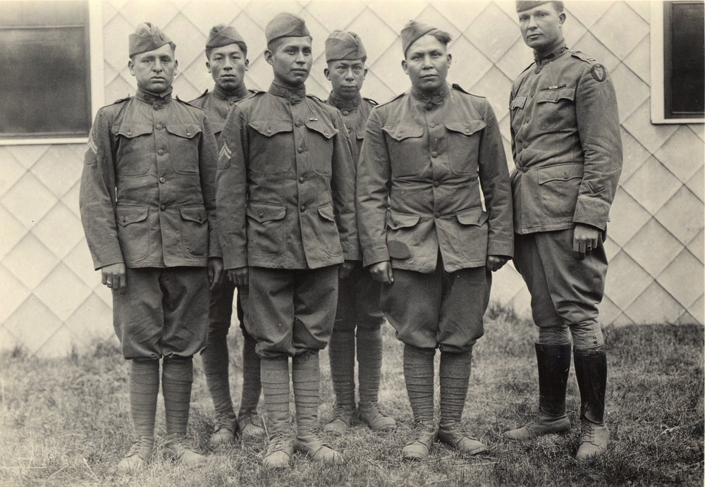From L to R: Corp. Solomon Bond Louis, Mitchell Bobb, Calvin Wilson, Corp. James M. Edwards, Joseph Davenport, Capt. E.W. Horner (commanding officer)