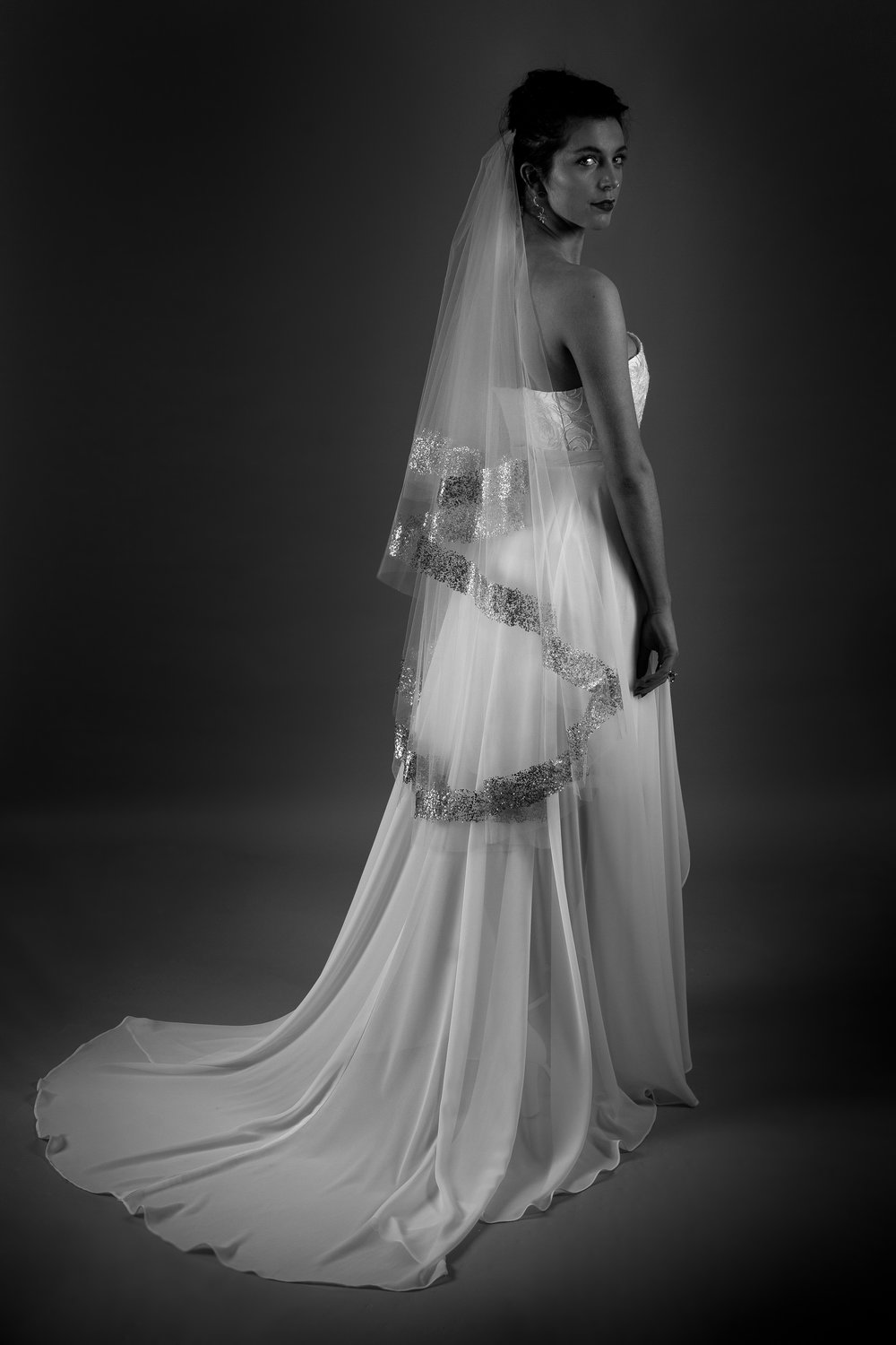 METALLIC VEIL WITH BLAKE DRESS AND ARIELLE OVERSKIRT