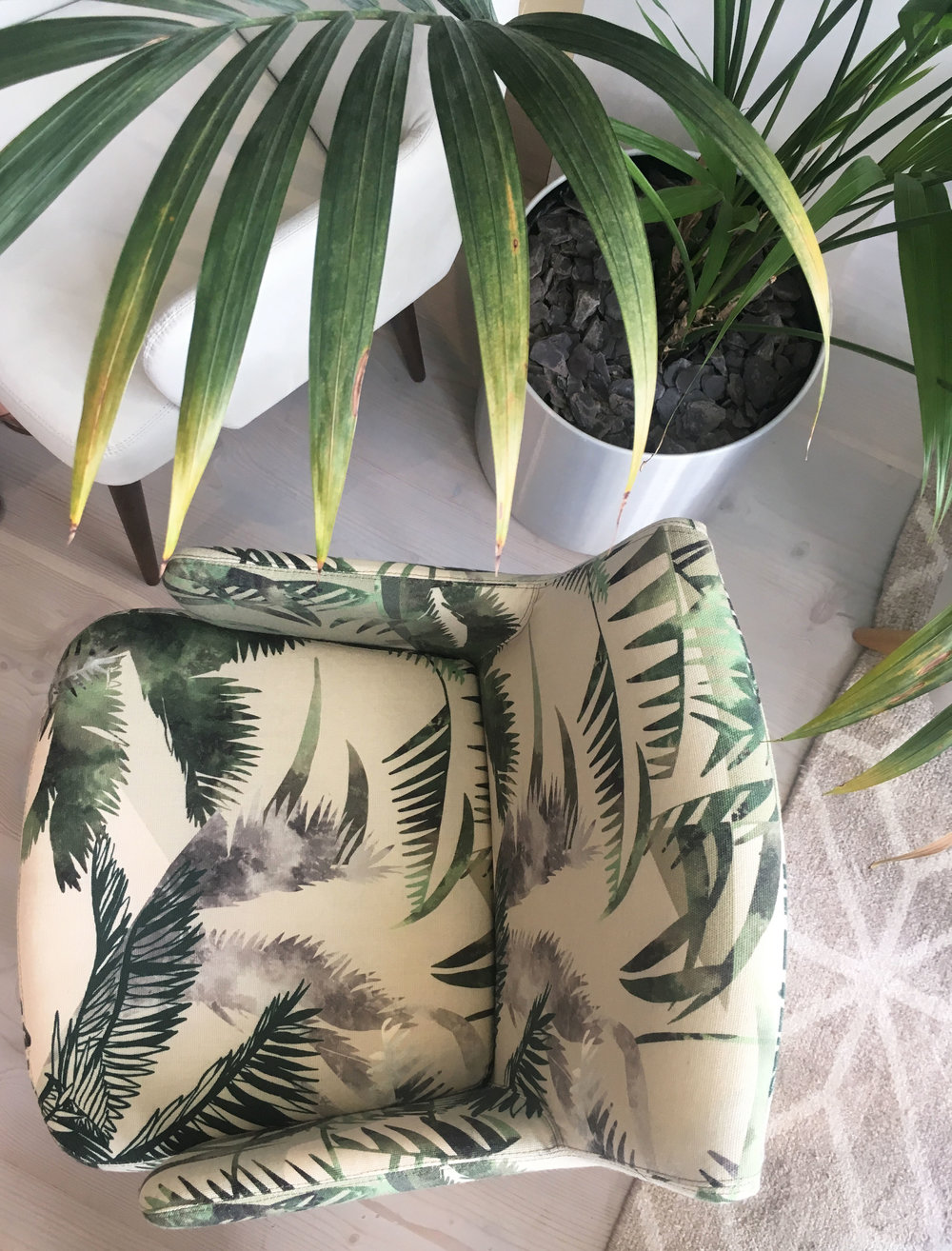 The Jungle pattern was engineered to Morgan's Chevy chair with a wool base from Bute Fabrics.